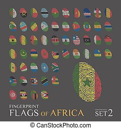 Set of 54 fingerprints colored with the national flags of the countries of Africa. Icon set Vector Illustration.
