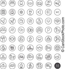 Set of 55 tourism travel hotel recreation line icons - Set...