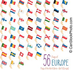 Set of 56 flags of Europe. Hand raising the national flags of 56 countries of Europe. Icon set Vector Illustration.