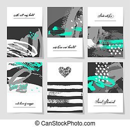 set of 6 abstract painting background with love hand written let
