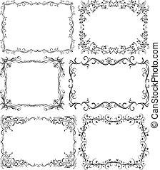 Set of 6 black vector frames for your design