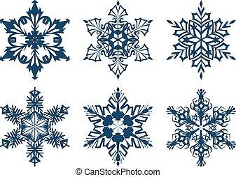 Set of 6 blue snowflakes