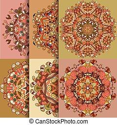 Set of 6 circle lace organic ornament