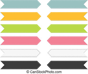 Set of 6 colorful pointing ribbons