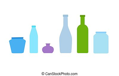 Set of 6 different glass jars and bottles. Vector illustration in flat style