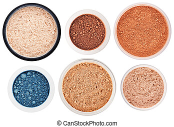 Set of 6 different rouge and eye shadow isolated on white