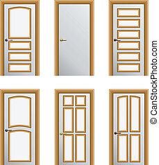 Set of 6 doors - Set of 6 white painted doors with golden ...