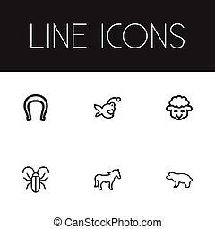 Set Of 6 Editable Animal Icons. Includes Symbols Such As Insect, Steed, Sheep And More. Can Be Used For Web, Mobile, UI And Infographic Design.