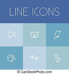 Set Of 6 Editable Animal Outline Icons. Includes Symbols Such As Bird Trace, Cockerel, Bird And More. Can Be Used For Web, Mobile, UI And Infographic Design.