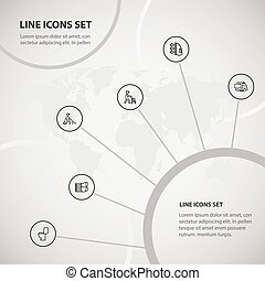 Set Of 6 Editable Cleanup Icons. Includes Symbols Such As Worker, Disinfection, Lavatory And More. Can Be Used For Web, Mobile, UI And Infographic Design.