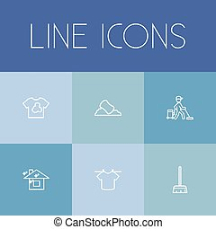 Set Of 6 Editable Hygiene Outline Icons. Includes Symbols Such As Worker, Clean House, Sponge And More. Can Be Used For Web, Mobile, UI And Infographic Design.