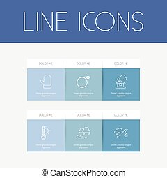 Set Of 6 Editable Weather Outline Icons. Includes Symbols Such As Hailstorm, Crescent Overcast, Thermometer And More. Can Be Used For Web, Mobile, UI And Infographic Design.