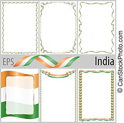 Set of 6 frames and borders with coloring India flag