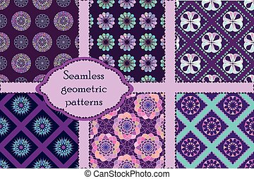 Set of 6 geometric  seamless patterns.