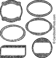Set of 6 grunge rubber stamps templates