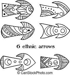 Set of 6 hand-drawn ethnic arrows