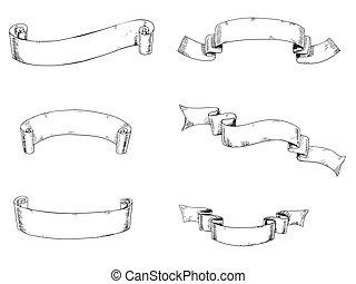 6 hand drawn ribbons - Set of 6 hand drawn ribbons