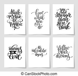 set of 6 hand written lettering positive inspirational quote