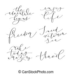 set of 6 hand written lettering positive quotes about life and t