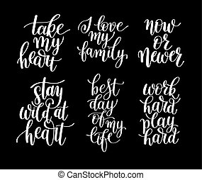 set of 6 handwritten lettering positive quotes about life