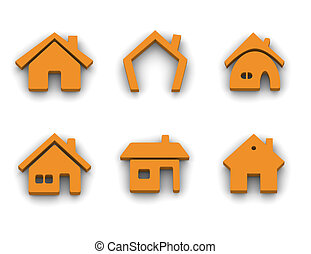 Set of 6 house icons - Set of 6 house 3d rendered icon...