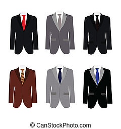 set of 6 illustration handsome business suit graphic vector ...