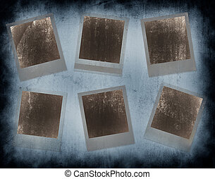 Set of 6 instant photo frames with grunge texture and...