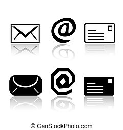 Set of 6 mail icon variations
