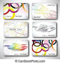Set of 6 metallic themed business card templates