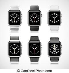 Set of 6 modern shiny smart watches