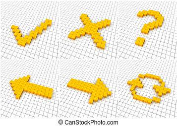 Set of 6 orange icons in grid. 3D rendered.