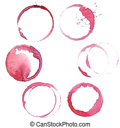 set of 6 round wine stains - vector set of 6 round...
