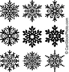 Set of 6 simple shape stylish black snowflakes for your design. Vector geometric pattern.