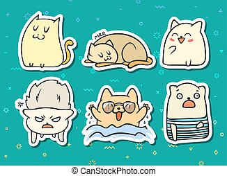 Set of 6 sticker doodle cats with different emotions.