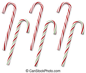 Set of 6 traditional holiday candy canes isolated on white with clipping paths.