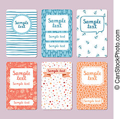 Set of 6 vector illustrated cards templates. You can use it...