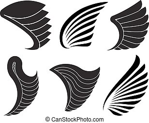 Set of 6 vector wings for your design.