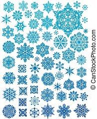 Set of 63 snowflakes