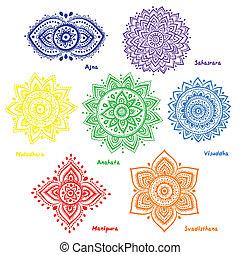 Set of 7 chakras - Isolated Set of beautiful ornamental 7...