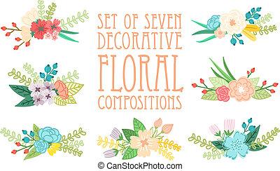Set of 7 floral compositions, decorative vector illustration