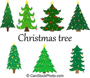 Set of 7 vector Christmas trees with decoration. Flat isolated illustration.