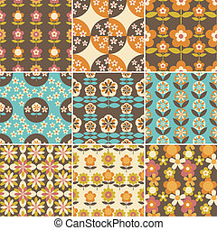 Set of 70s Seamless Patterns Design Wallpaper