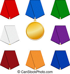 Set of 8 colored patterned ribbons and medal.