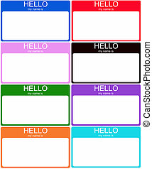 Set of 8 Colorful Name Tags - A set of 8 colorful Hello My...
