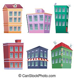 Set of 8 colorfully residential houses set