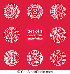 Set of 8 decorative snowflakes