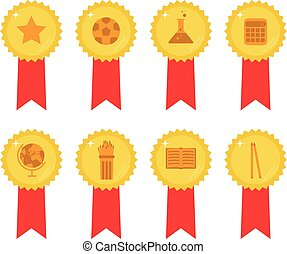 Set of 8 gold medals with red ribbon with educational icons inside for mathematics, literature, sports and more.