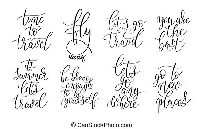 set of 8 hand written lettering positive quotes about life