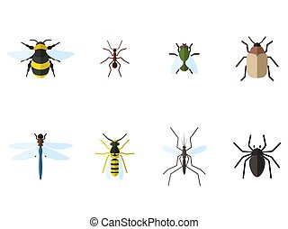 Set of 8 insects flat icons