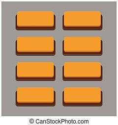 Set of 8 Orange Color Buttons on Grey Background